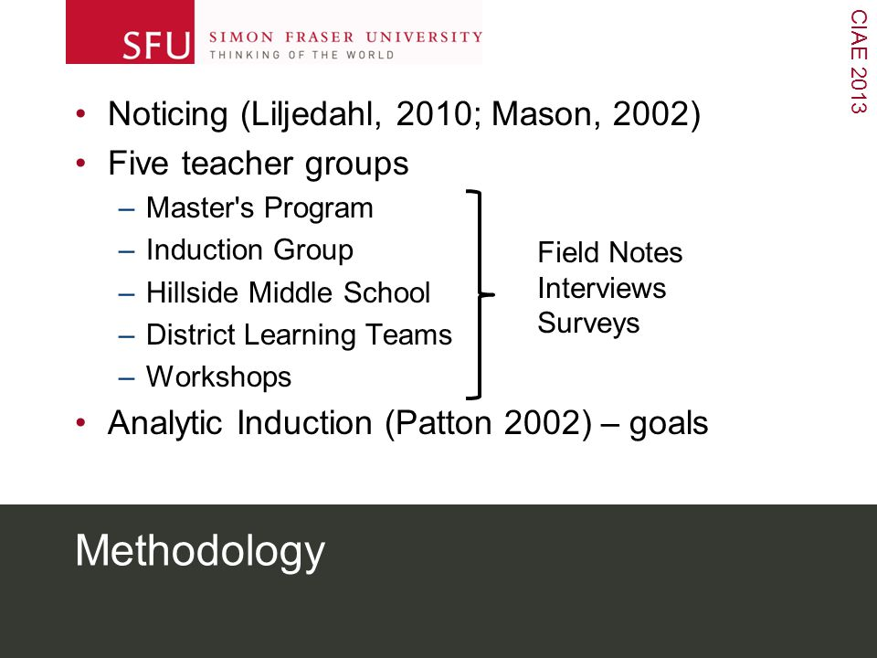 CIAE 2013 Methodology Noticing (Liljedahl, 2010; Mason, 2002) Five teacher groups –Master s Program –Induction Group –Hillside Middle School –District Learning Teams –Workshops Analytic Induction (Patton 2002) – goals Field Notes Interviews Surveys