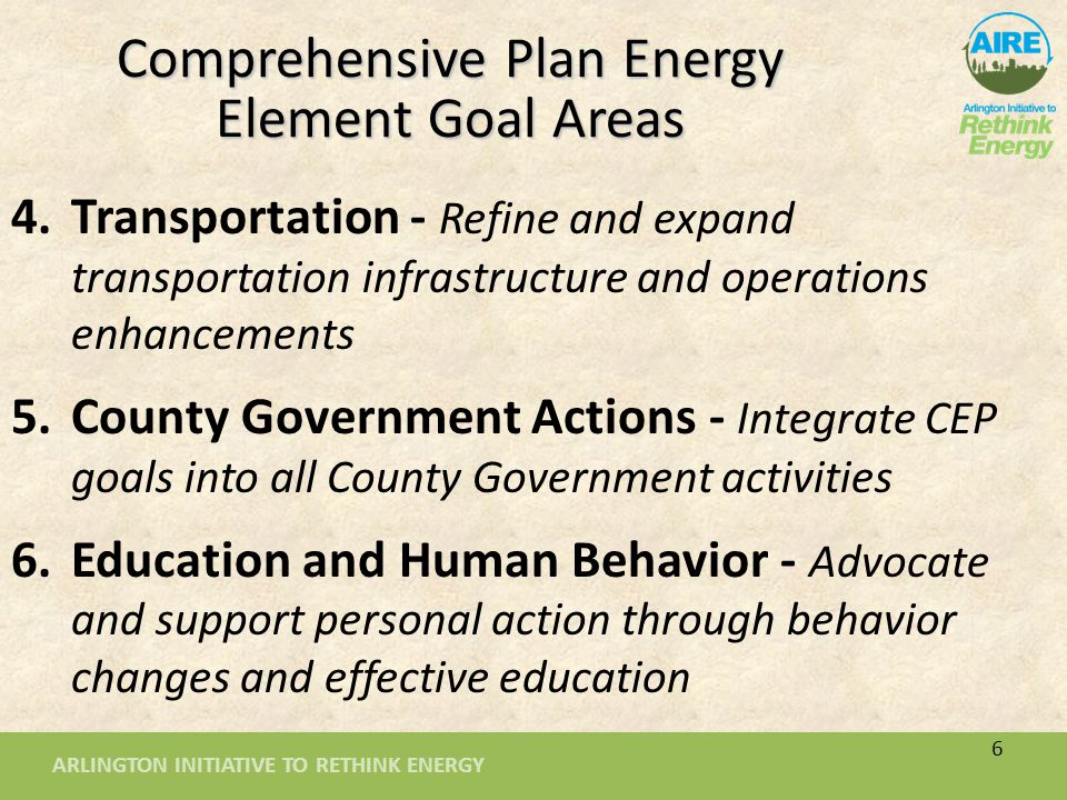 ARLINGTON INITIATIVE TO RETHINK ENERGY Per Capita GHG Emissions Impacts of Key Energy Policy Recommendations 7