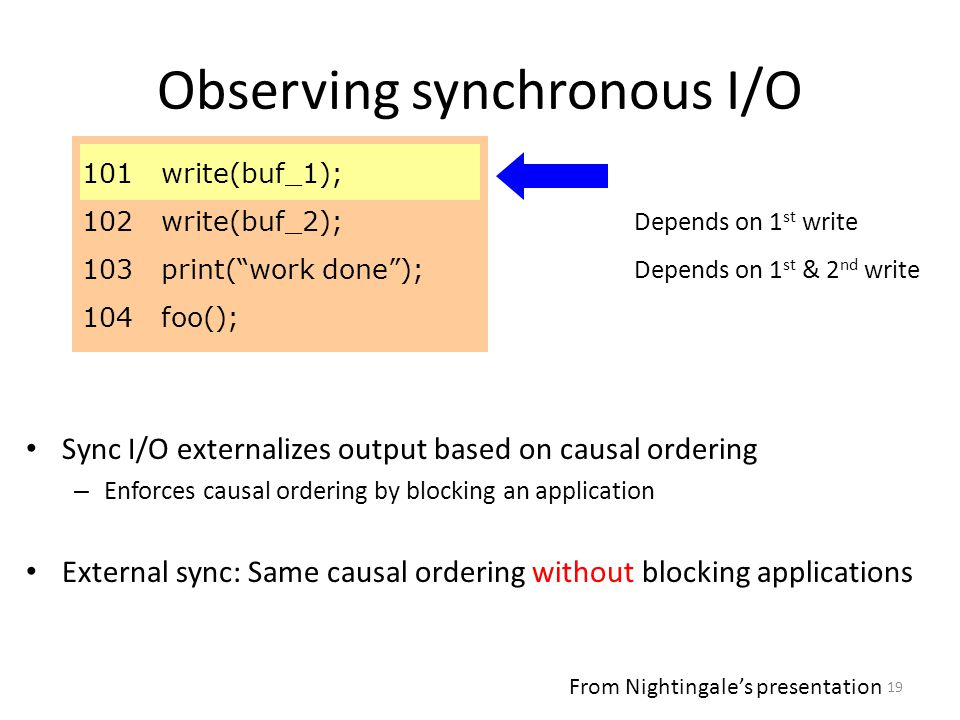 19 Observing synchronous I/O 101 write(buf_1); 102 write(buf_2); 103 print( work done ); 104 foo(); Sync I/O externalizes output based on causal ordering – Enforces causal ordering by blocking an application External sync: Same causal ordering without blocking applications Depends on 1 st write Depends on 1 st & 2 nd write From Nightingale's presentation