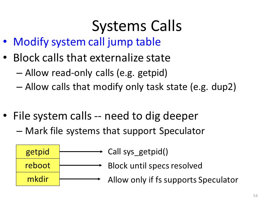 54 Systems Calls Modify system call jump table Block calls that externalize state – Allow read-only calls (e.g.