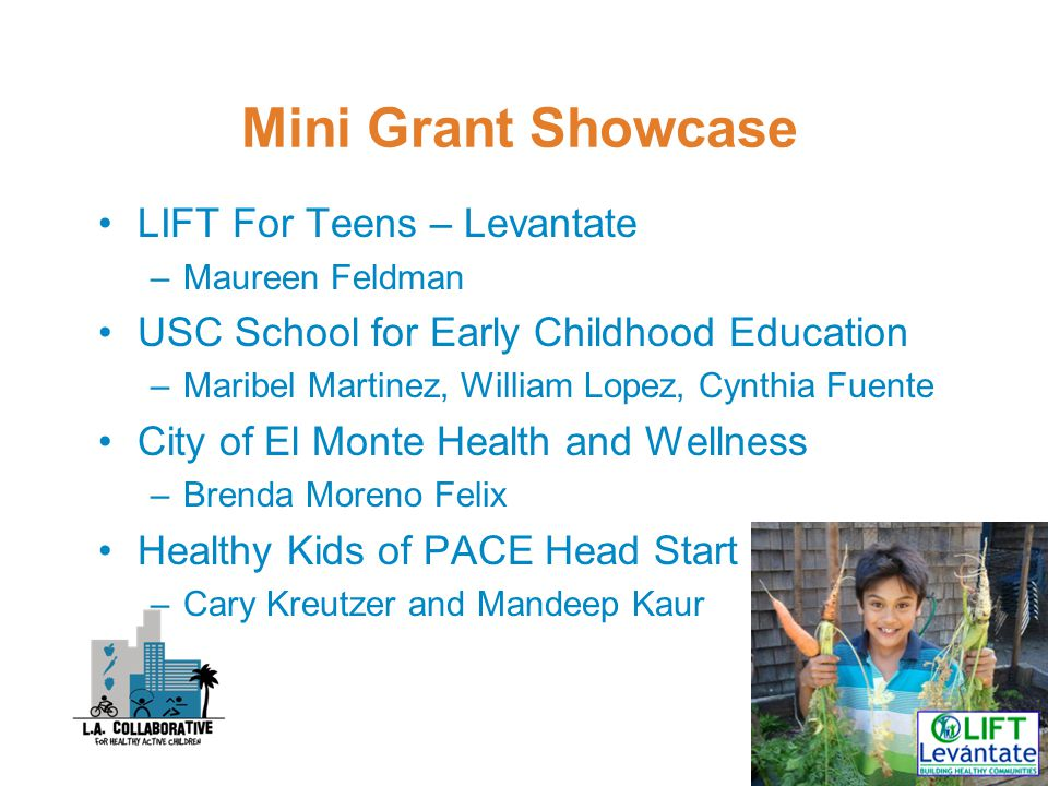 Mini Grant Showcase LIFT For Teens – Levantate –Maureen Feldman USC School for Early Childhood Education –Maribel Martinez, William Lopez, Cynthia Fuente City of El Monte Health and Wellness –Brenda Moreno Felix Healthy Kids of PACE Head Start –Cary Kreutzer and Mandeep Kaur