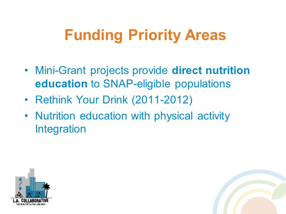 Funding Priority Areas Mini-Grant projects provide direct nutrition education to SNAP-eligible populations Rethink Your Drink (2011-2012) Nutrition education with physical activity Integration
