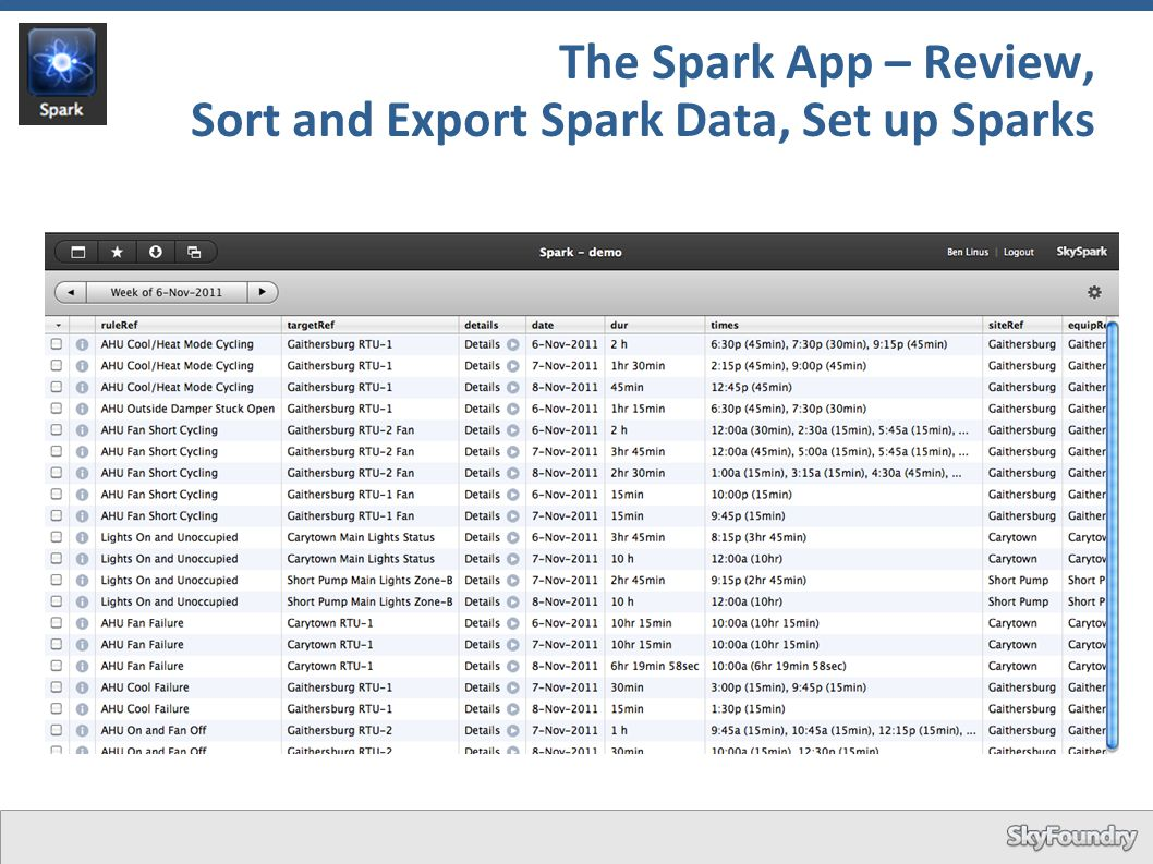 The Spark App – Review, Sort and Export Spark Data, Set up Sparks