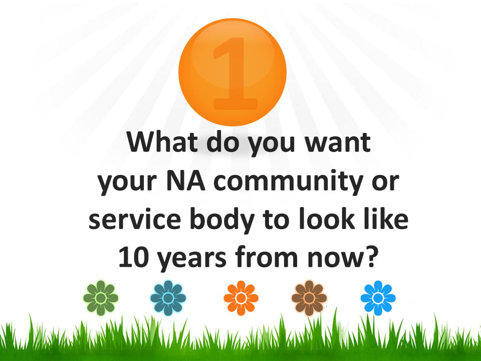 What do you want your NA community or service body to look like 10 years from now 1