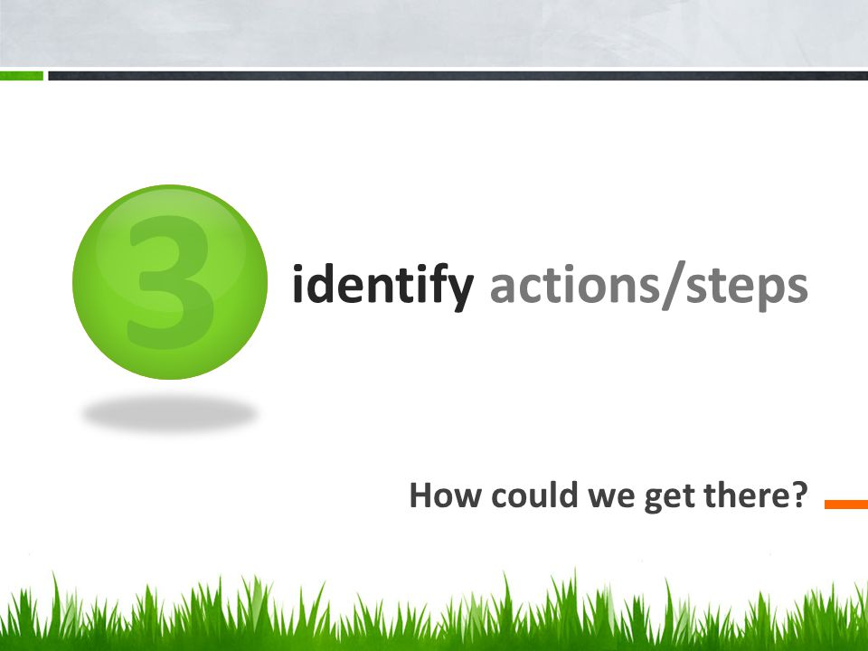 3 identify actions/steps How could we get there
