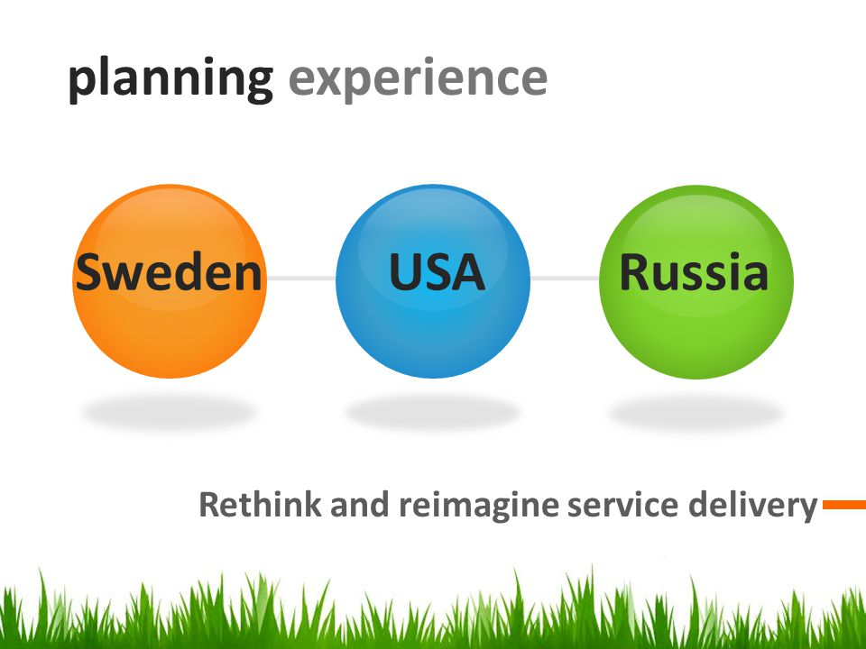 planning experience Rethink and reimagine service delivery SwedenUSARussia