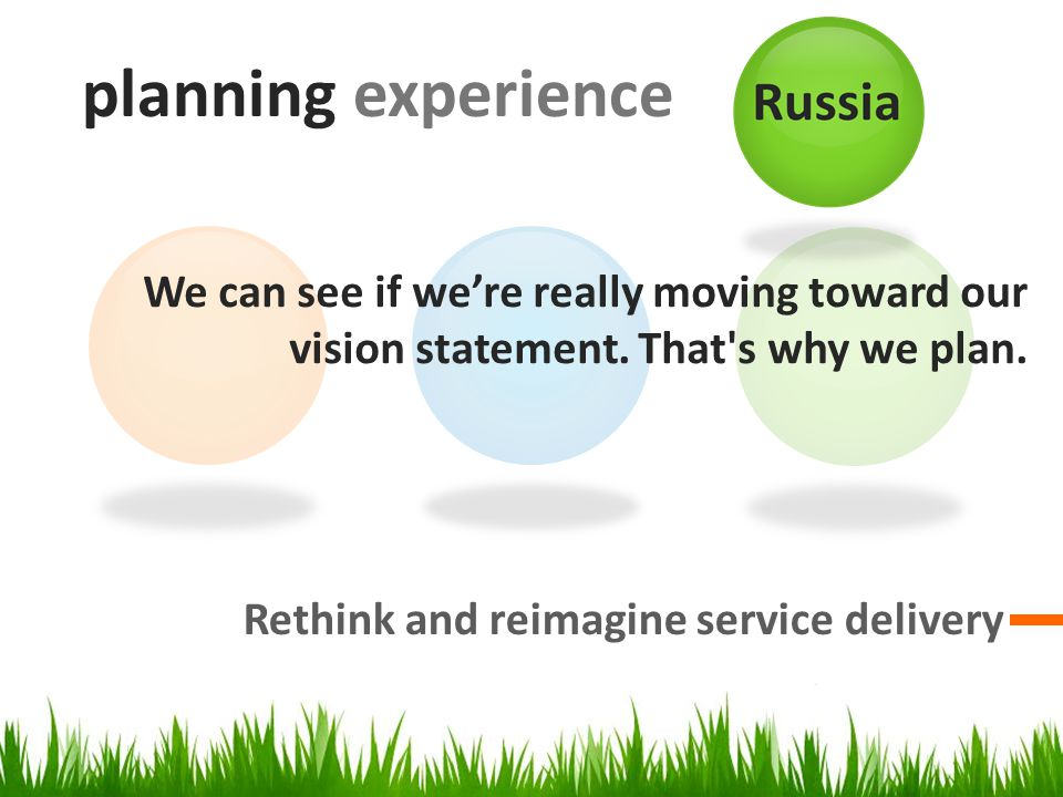planning experience Rethink and reimagine service delivery We can see if we're really moving toward our vision statement.