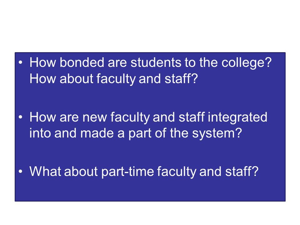 How bonded are students to the college. How about faculty and staff.