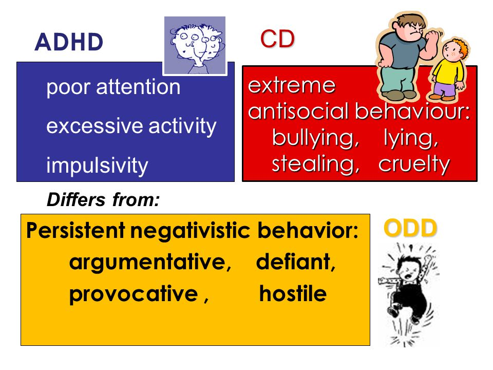 Persistent negativistic behavior: argumentative, defiant, provocative, hostile poor attention excessive activity impulsivity extreme antisocial behaviour: bullying, lying, stealing, cruelty bullying, lying, stealing, cruelty ADHD ODD CD Differs from:
