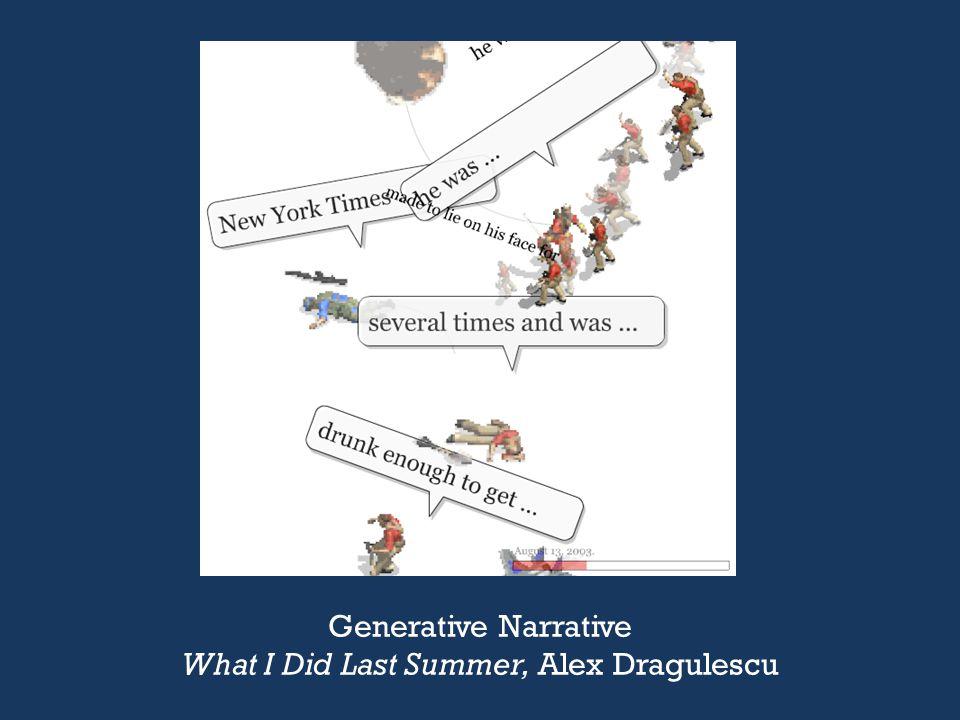 Generative Narrative What I Did Last Summer, Alex Dragulescu
