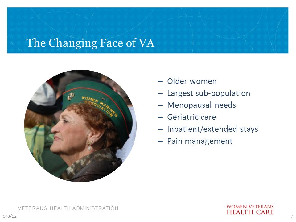 VETERANS HEALTH ADMINISTRATION – Older women – Largest sub-population – Menopausal needs – Geriatric care – Inpatient/extended stays – Pain management 5/8/127 The Changing Face of VA