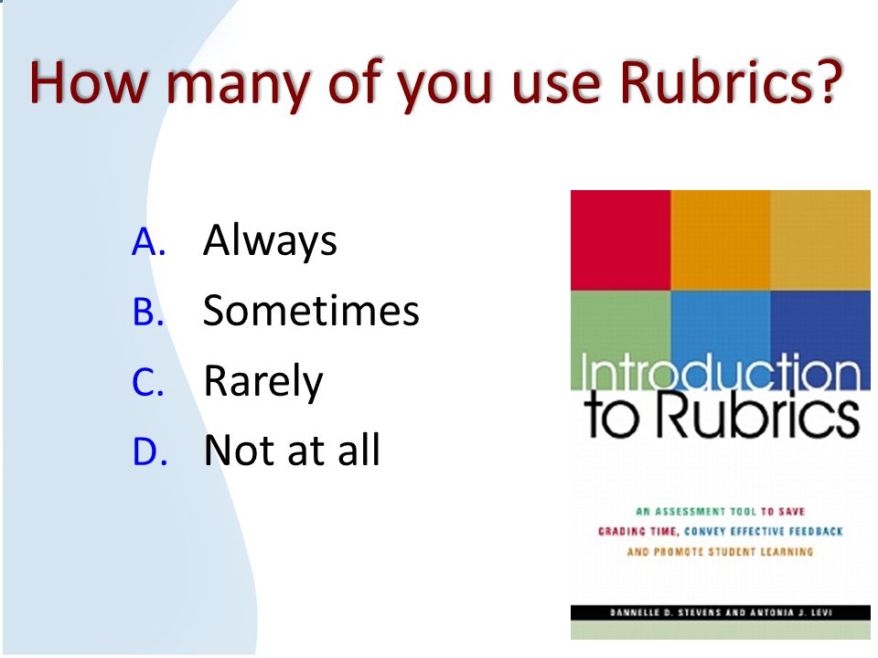 How many of you use Rubrics? A. Always B. Sometimes C. Rarely D. Not at all