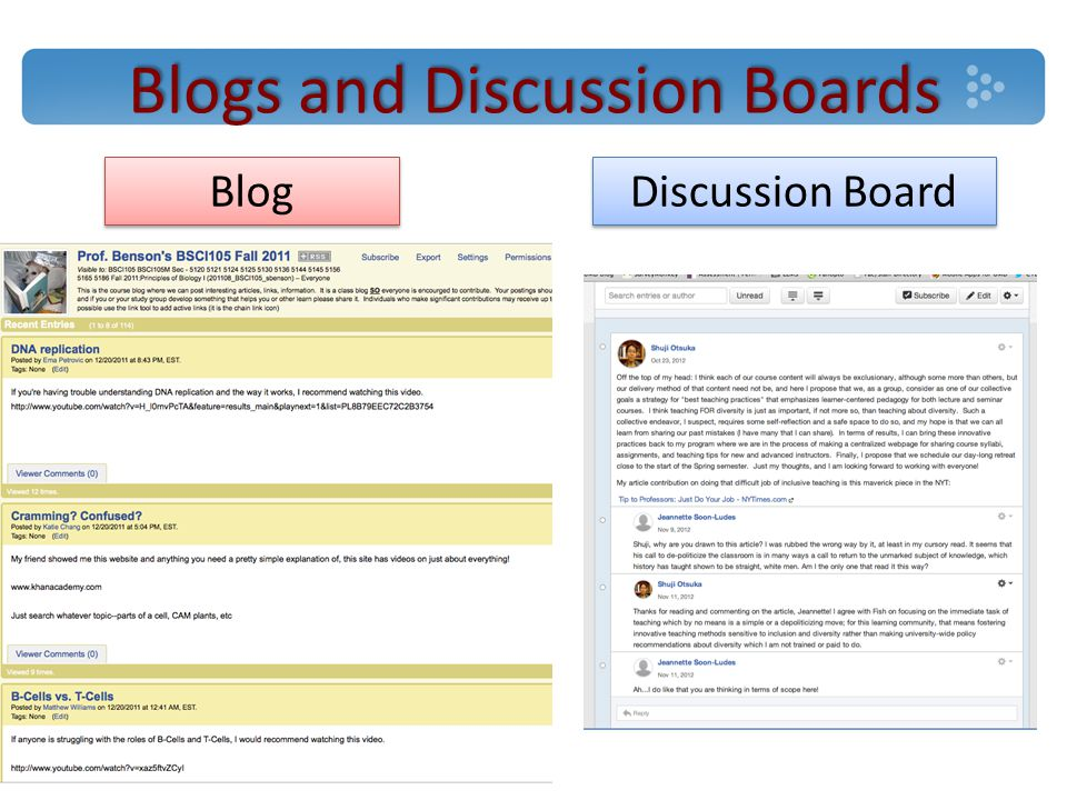 Blogs and Discussion Boards Discussion Board Blog