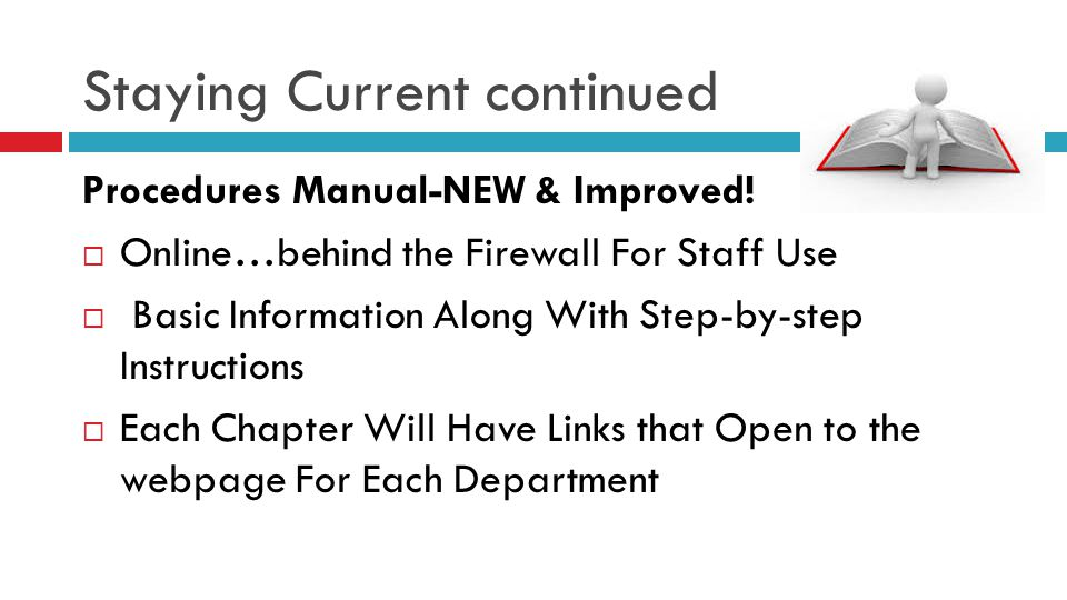 Staying Current continued Procedures Manual-NEW & Improved!  Online…behind the Firewall For Staff Use  Basic Information Along With Step-by-step Ins