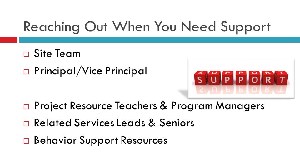Reaching Out When You Need Support  Site Team  Principal/Vice Principal  Project Resource Teachers & Program Managers  Related Services Leads & Se
