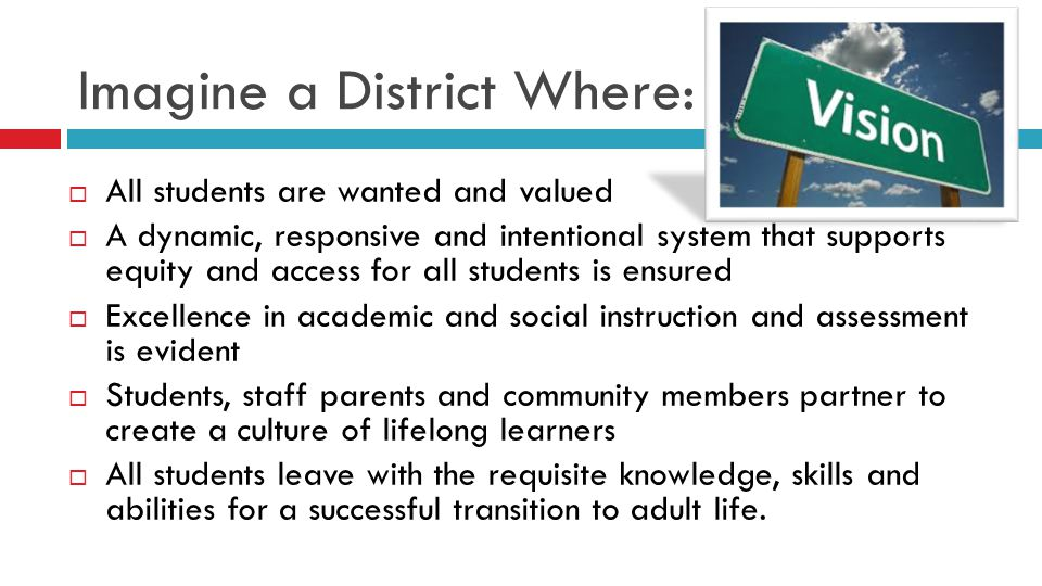 Imagine a District Where:  All students are wanted and valued  A dynamic, responsive and intentional system that supports equity and access for all students is ensured  Excellence in academic and social instruction and assessment is evident  Students, staff parents and community members partner to create a culture of lifelong learners  All students leave with the requisite knowledge, skills and abilities for a successful transition to adult life.