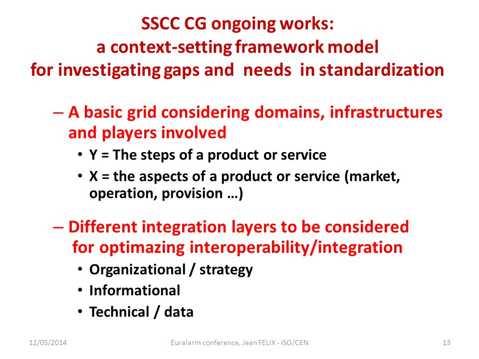 SSCC CG ongoing works: a context-setting framework model for investigating gaps and needs in standardization – A basic grid considering domains, infra