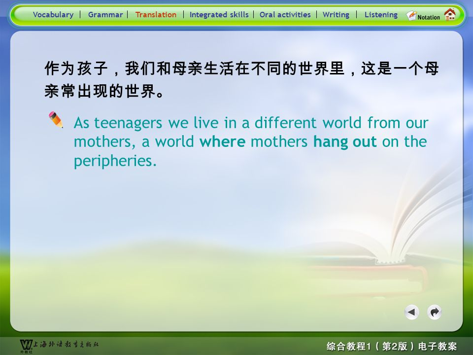 Consolidation Activities- Translation2 Practice : Translate the following sentences into English. 我可不想总是和这群人混在一起。 手里有了钱,这孩子去了其他年轻人喜欢去的地方。 VocabularyTr