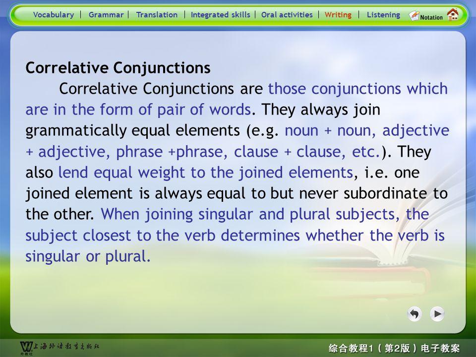Consolidation Activities- Writing VocabularyTranslationIntegrated skillsOral activitiesWritingListeningGrammar Correlative conjunctions Practice