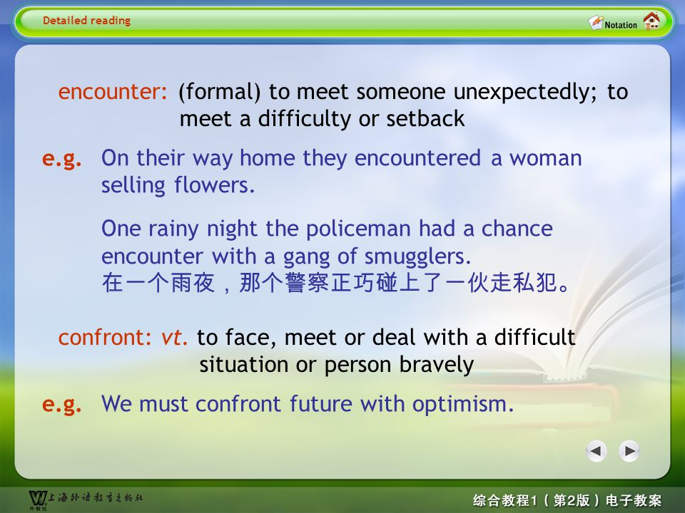 confront vt. to face, meet or deal with a difficult situation or person Detailed reading2– confront 1 e.g. A soldier often has to confront dangers. 士兵