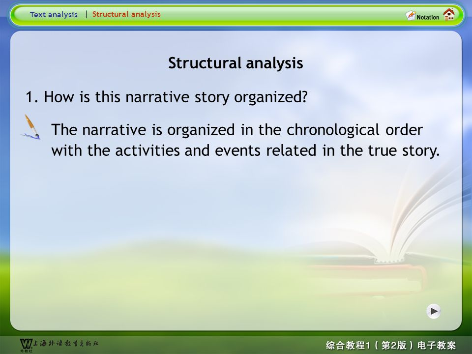 Global Reading-Text analysis2 Text analysis Structural analysis 2. What is the style of the text? Give your reasons. The style of the narrative is col