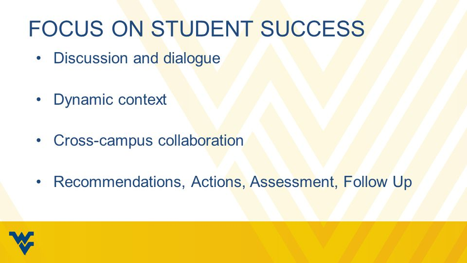 FOCUS ON STUDENT SUCCESS Discussion and dialogue Dynamic context Cross-campus collaboration Recommendations, Actions, Assessment, Follow Up