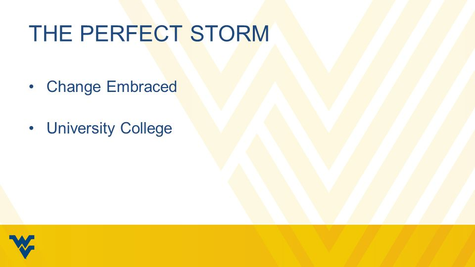 THE PERFECT STORM Change Embraced University College