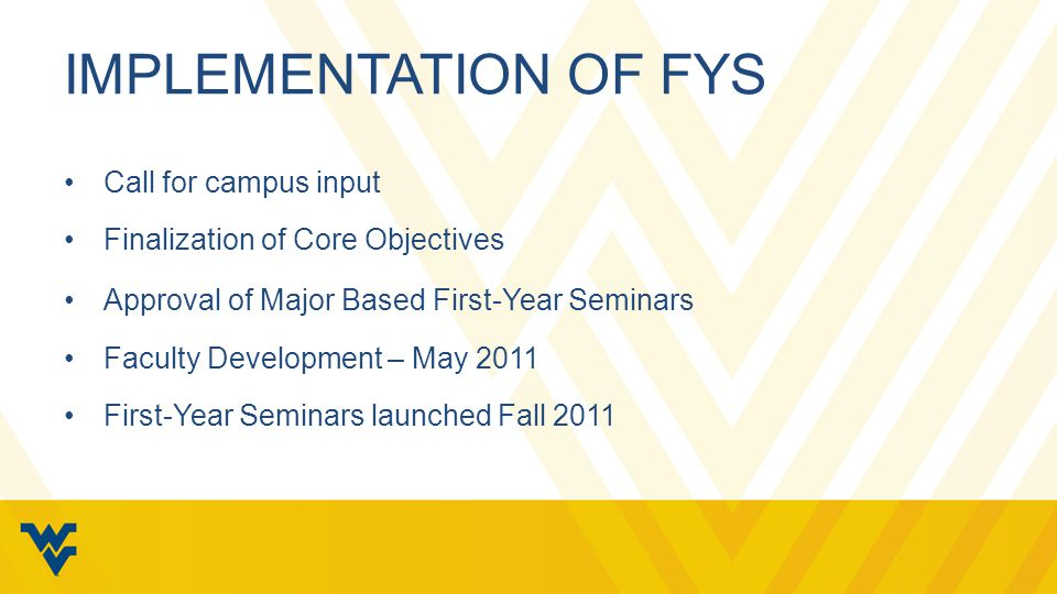 IMPLEMENTATION OF FYS Call for campus input Finalization of Core Objectives Approval of Major Based First-Year Seminars Faculty Development – May 2011 First-Year Seminars launched Fall 2011