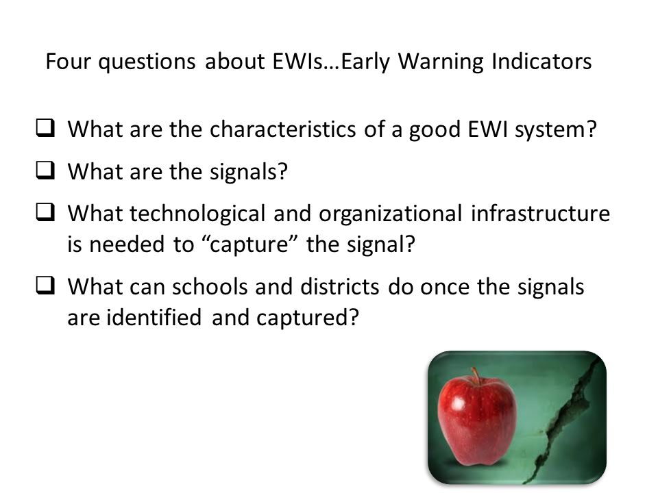 Four questions about EWIs…Early Warning Indicators  What are the characteristics of a good EWI system.