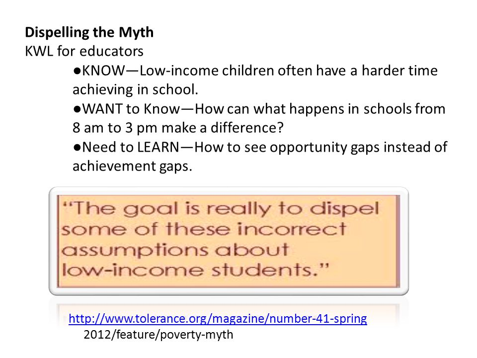 Dispelling the Myth KWL for educators ● KNOW—Low-income children often have a harder time achieving in school.