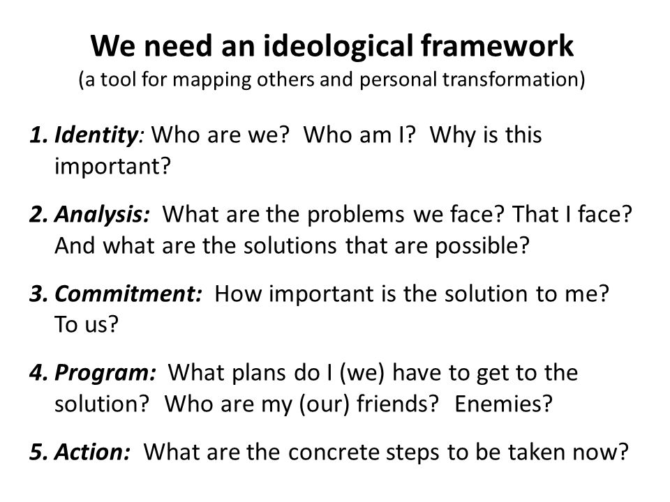 We need an ideological framework (a tool for mapping others and personal transformation) 1.Identity: Who are we? Who am I? Why is this important? 2.An