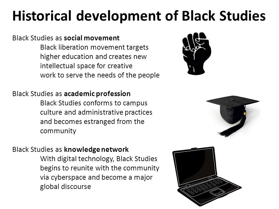 Historical development of Black Studies Black Studies as social movement Black liberation movement targets higher education and creates new intellectual space for creative work to serve the needs of the people Black Studies as academic profession Black Studies conforms to campus culture and administrative practices and becomes estranged from the community Black Studies as knowledge network With digital technology, Black Studies begins to reunite with the community via cyberspace and become a major global discourse