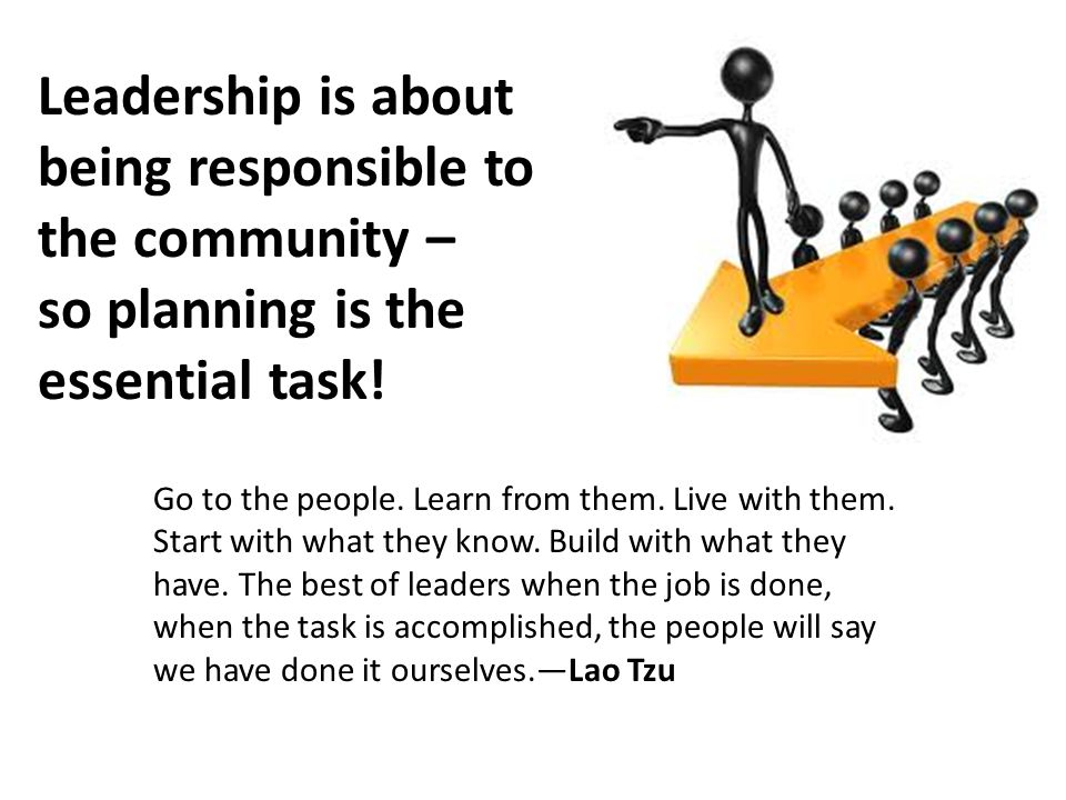 Leadership is about being responsible to the community – so planning is the essential task.