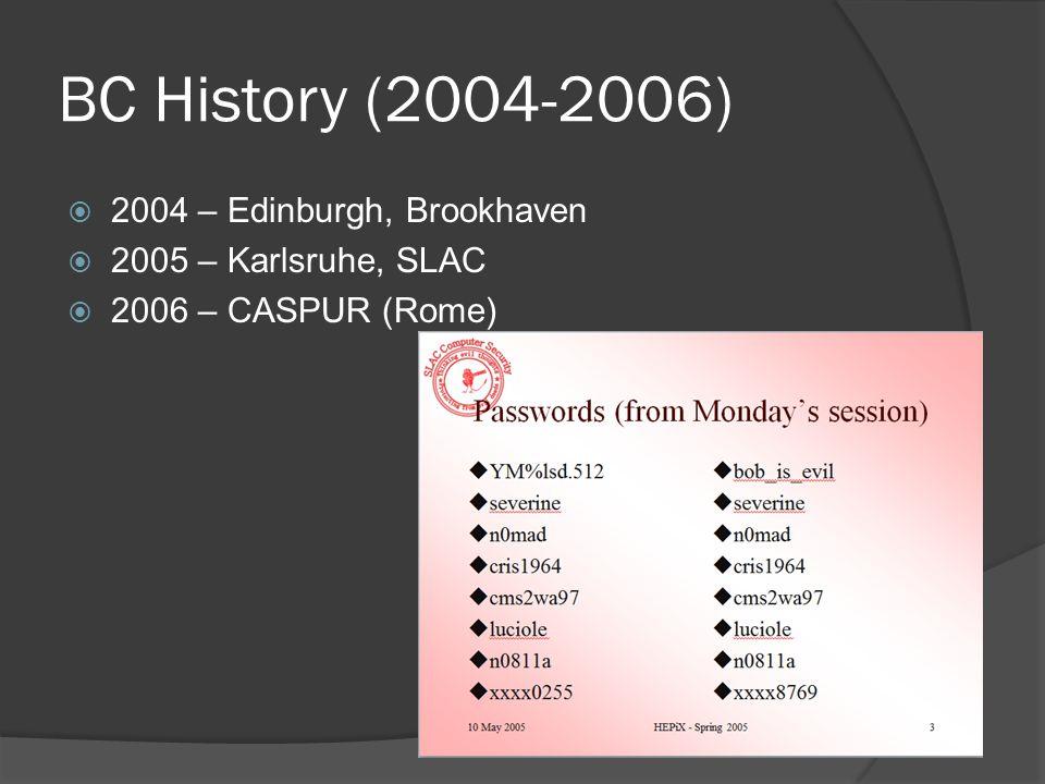 BC History (2004-2006)  2004 – Edinburgh, Brookhaven  2005 – Karlsruhe, SLAC  2006 – CASPUR (Rome)