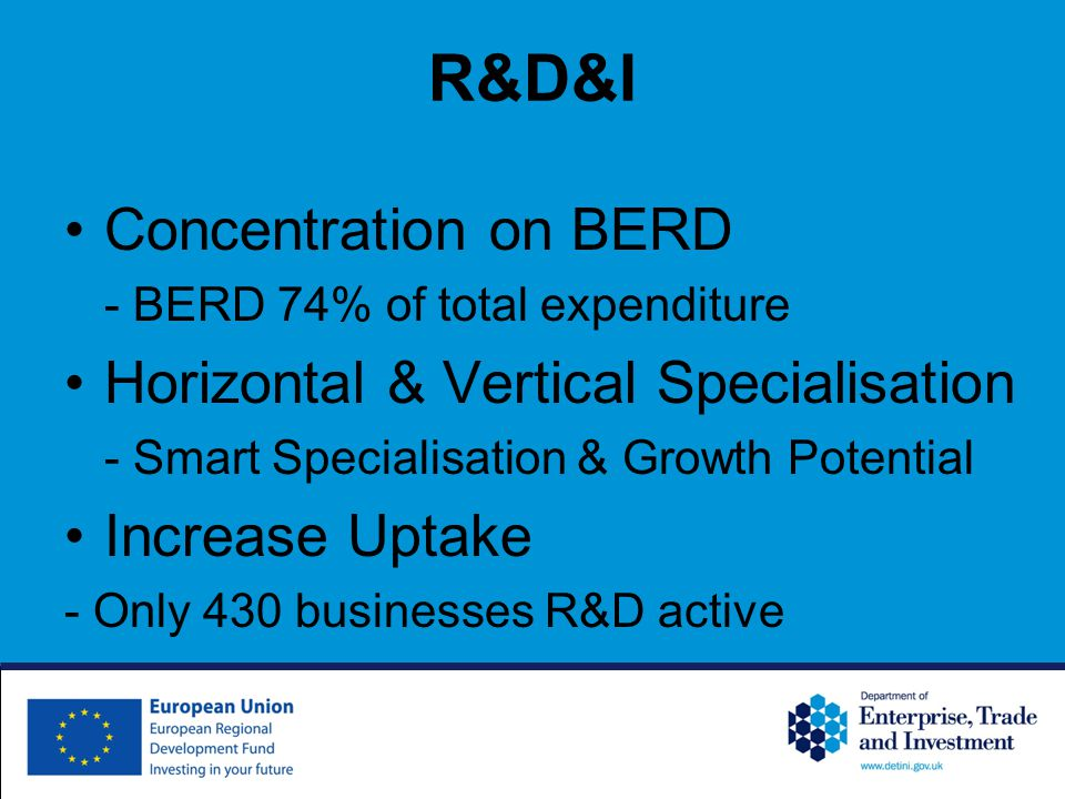 R&D&I Concentration on BERD - BERD 74% of total expenditure Horizontal & Vertical Specialisation - Smart Specialisation & Growth Potential Increase Uptake - Only 430 businesses R&D active
