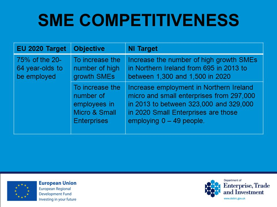 SME COMPETITIVENESS EU 2020 TargetObjectiveNI Target 75% of the 20- 64 year-olds to be employed To increase the number of high growth SMEs Increase the number of high growth SMEs in Northern Ireland from 695 in 2013 to between 1,300 and 1,500 in 2020 To increase the number of employees in Micro & Small Enterprises Increase employment in Northern Ireland micro and small enterprises from 297,000 in 2013 to between 323,000 and 329,000 in 2020 Small Enterprises are those employing 0 – 49 people.