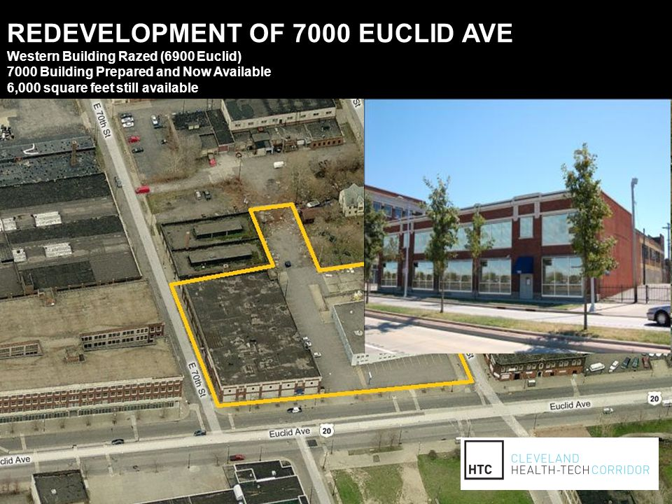 REDEVELOPMENT OF 7000 EUCLID AVE Western Building Razed (6900 Euclid) 7000 Building Prepared and Now Available 6,000 square feet still available