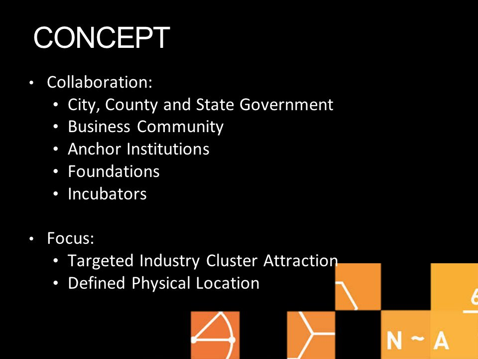 CONCEPT Collaboration: City, County and State Government Business Community Anchor Institutions Foundations Incubators Focus: Targeted Industry Cluster Attraction Defined Physical Location
