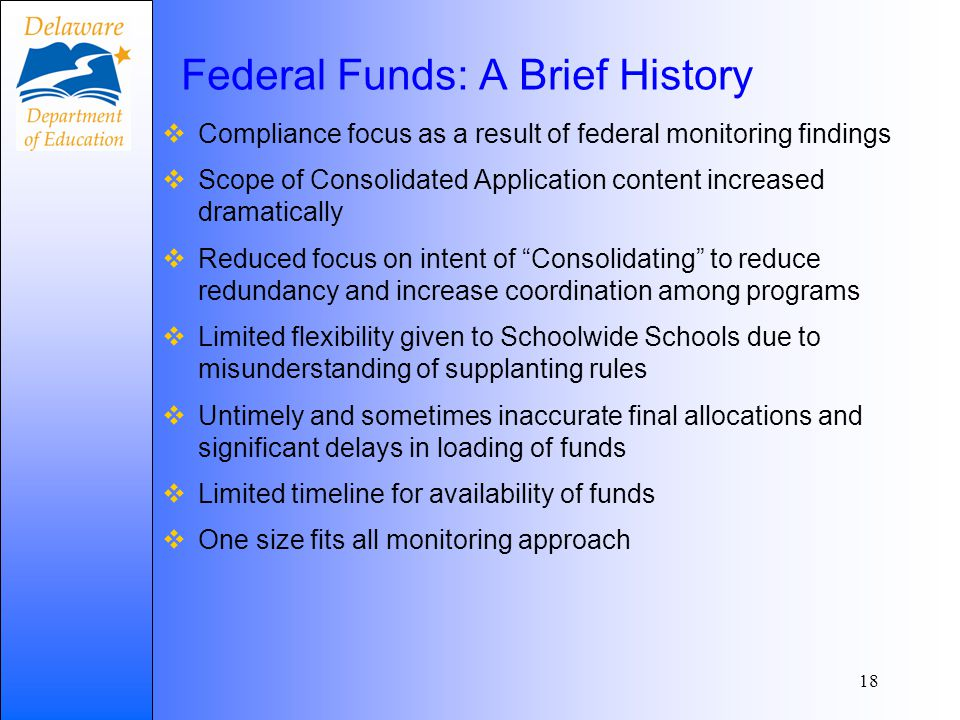 Federal Funds: A Brief History  Compliance focus as a result of federal monitoring findings  Scope of Consolidated Application content increased dra