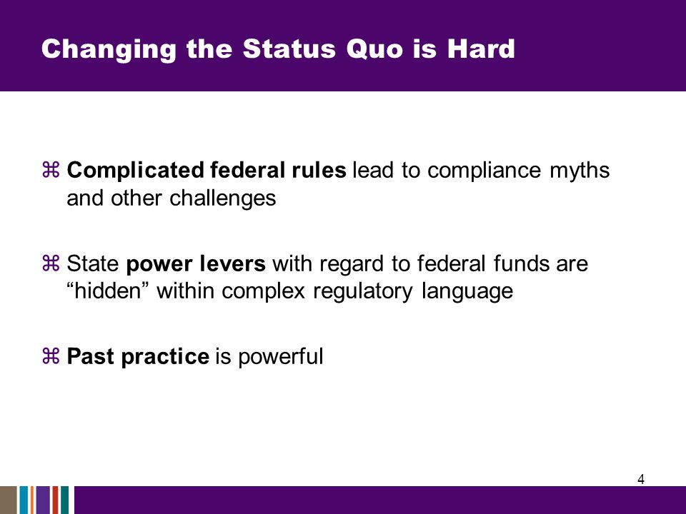 Complicated Rules Impact Delivery  Compliance myths: belief things are not permitted by federal law even when they are Driver/example: confusion over supplement not supplant –BUT...rule is more flexible than typically perceived/differs by program  Silo approach: initiatives administered on a federal funding stream basis rather than comprehensively Driver/example: time and effort requirements –BUT...