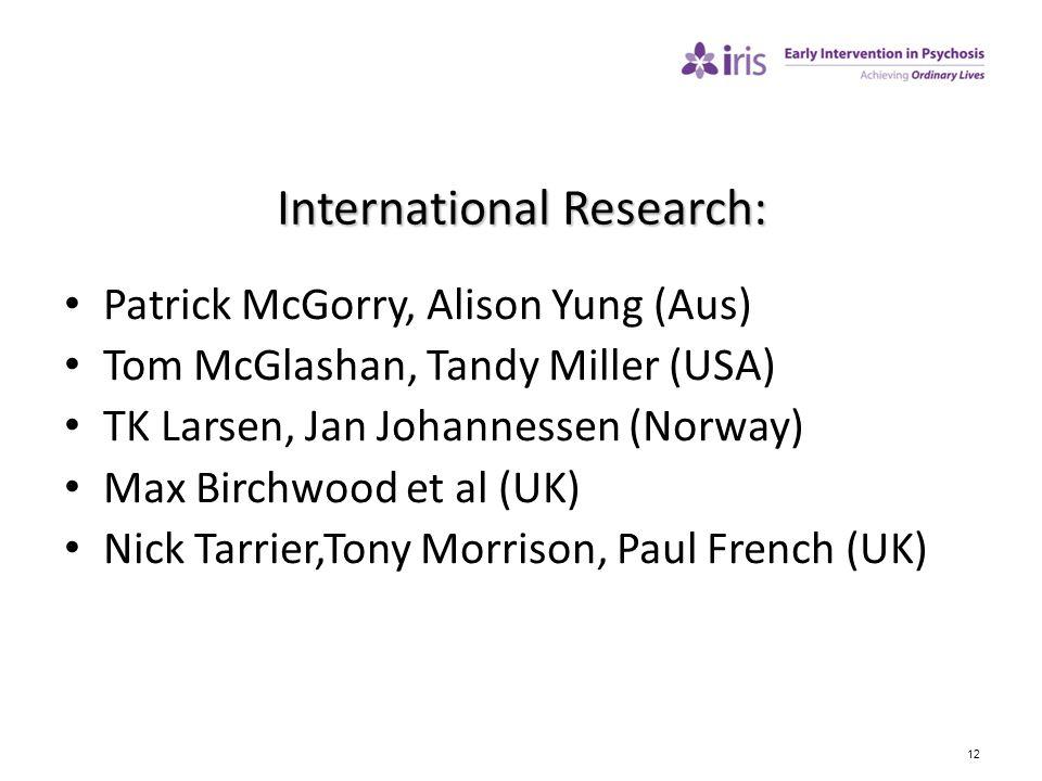 12 International Research: Patrick McGorry, Alison Yung (Aus) Tom McGlashan, Tandy Miller (USA) TK Larsen, Jan Johannessen (Norway) Max Birchwood et a