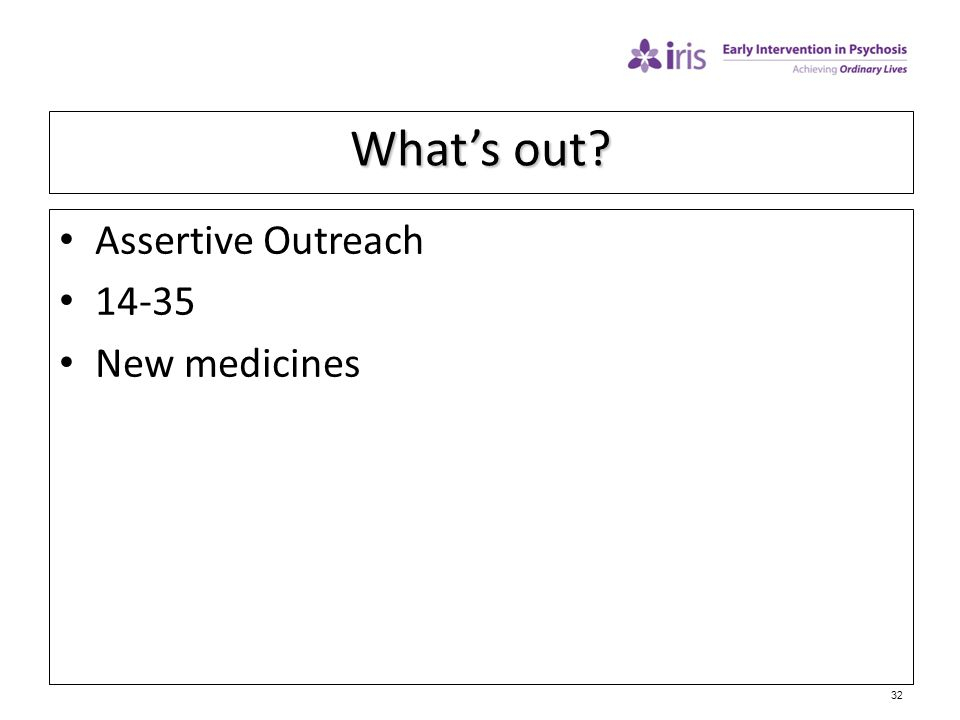 32 What's out? Assertive Outreach 14-35 New medicines