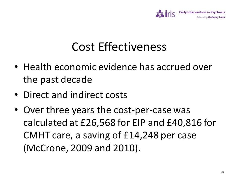 39 Cost Effectiveness Health economic evidence has accrued over the past decade Direct and indirect costs Over three years the cost-per-case was calcu