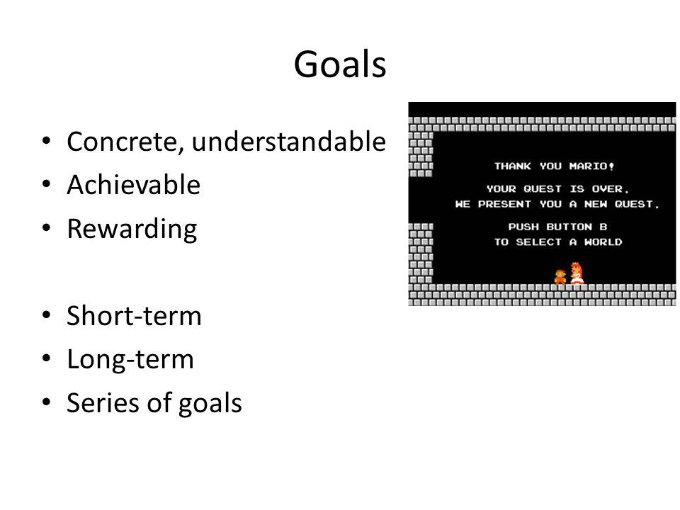 Goals Concrete, understandable Achievable Rewarding Short-term Long-term Series of goals