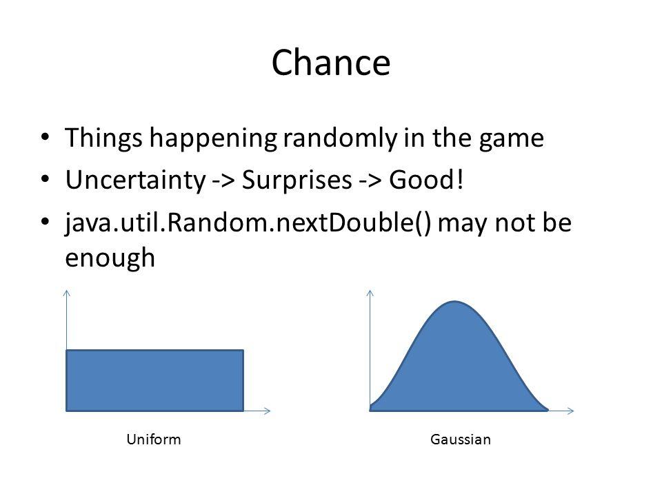 Things happening randomly in the game Uncertainty -> Surprises -> Good.