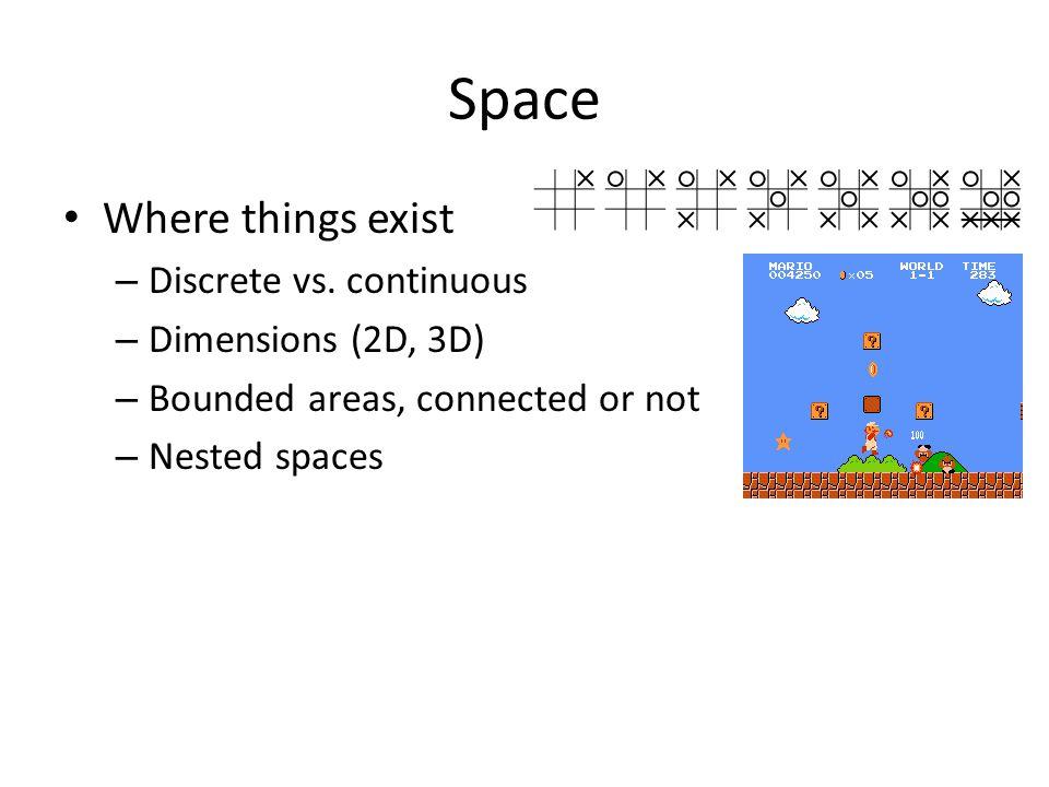 Space Where things exist – Discrete vs.