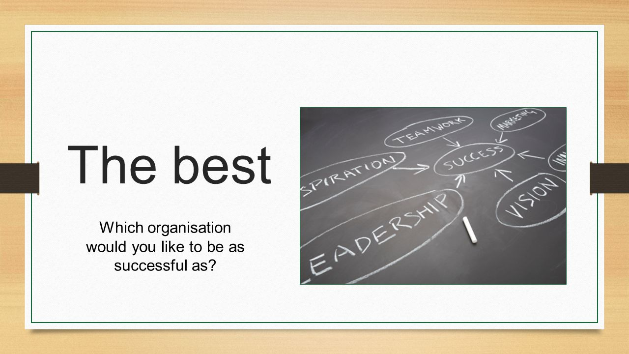 The best Which organisation would you like to be as successful as?