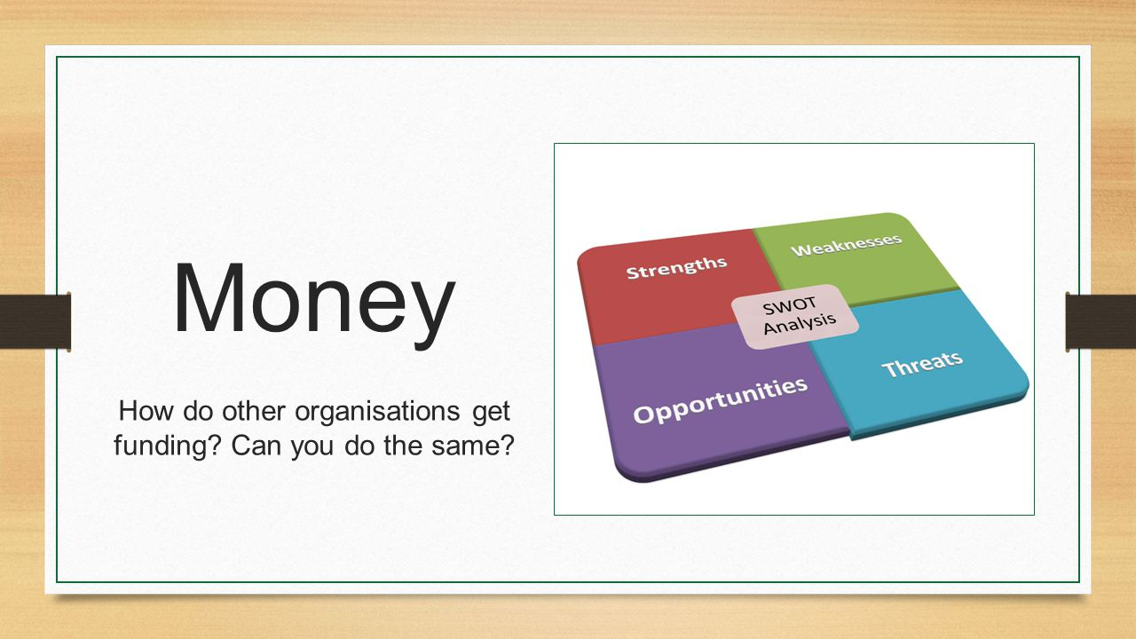 Money How do other organisations get funding Can you do the same