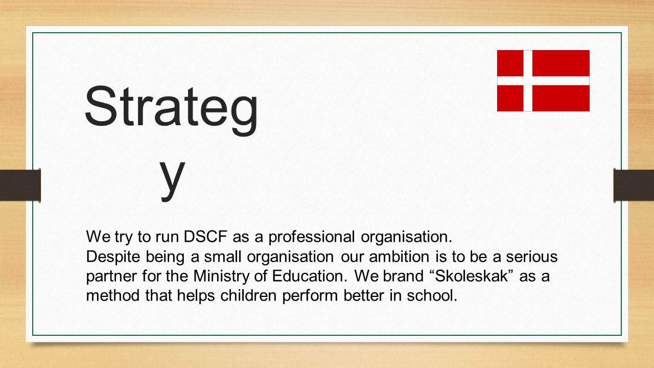 Strateg y We try to run DSCF as a professional organisation. Despite being a small organisation our ambition is to be a serious partner for the Minist