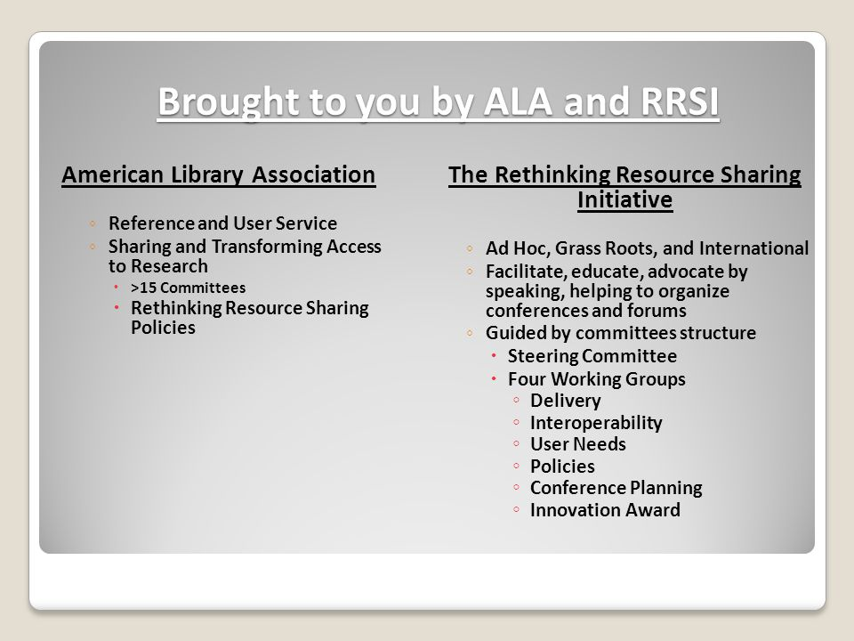 Brought to you by ALA and RRSI American Library Association ◦ Reference and User Service ◦ Sharing and Transforming Access to Research  >15 Committees  Rethinking Resource Sharing Policies The Rethinking Resource Sharing Initiative ◦ Ad Hoc, Grass Roots, and International ◦ Facilitate, educate, advocate by speaking, helping to organize conferences and forums ◦ Guided by committees structure  Steering Committee  Four Working Groups ◦ Delivery ◦ Interoperability ◦ User Needs ◦ Policies ◦ Conference Planning ◦ Innovation Award